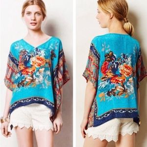 Anthropologie Tithal silk floral boho poncho top